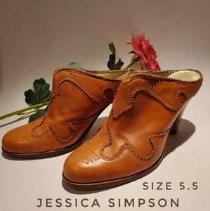 JESSICA SIMPSON Western Brown Tooled Leather Clogs